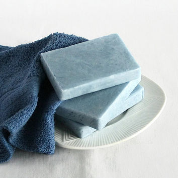 Barber Shoppe, Olive Oil Soap, Shea Butter Soap, Hot Process Soap, Handmade Soap, Baby Blue Soap, Blue Soap FREE SHIPPING
