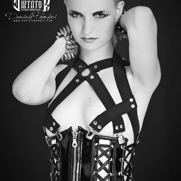 Black and White Leather Underbust Corset