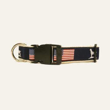 The Patriot Ribbon Dog Collar in Navy by Over Under Clothing