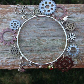 Steam punk holiday bangle bracelet - steam punk jewelry - christmas - holiday -gifts for her -christmas bracelet - holiday jewelry - teen
