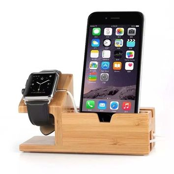 TuoP@Bamboo Wooden Stand Display Creative 3 USB Charger Charging Stand Bracket Docking Station For iPhone 7 7 plus 6s plus 6s 6 5s iPad Apple Watch 2 1