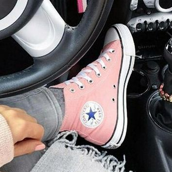 Converse All Star Sneakers canvas shoes for Unisex sports shoes high-top pink-1