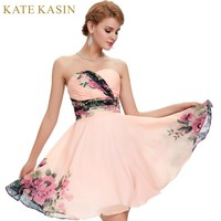 Flower Print Short Prom Dresses Chiffon Knee Length Homecoming Graduation Party Gown Formal Prom Dress
