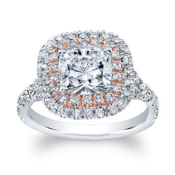 Women's 18k Cushion double halo diamond engagement ring 0.70 ctw with 1.70ct Cushion White Sapphire Center