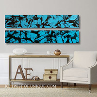 Large Watercolor Painting / 2 Panel collection  (48 Inches x 9 Inches) / ORIGINAL Painting /  Turquoise, black