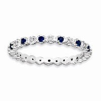 Sterling Silver Created Sapphire Diamond Ring