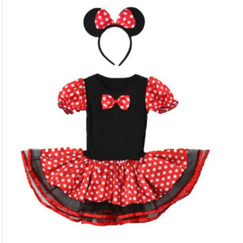 Miss mouse costume with matching  headband. Great for Birthday party, Halloween costume or dress up. Limited quatities.