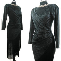 Vintage 80s Dress Dramatic Fringe Black Crushed Velvet Ruched Draped Body Con Mini Dress M L