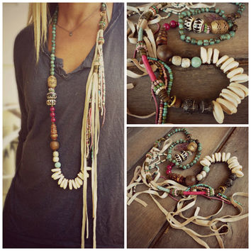 Boho, Ethnic,Hippie necklace, Cowrie shell, Wood, Fossil, trade beads, Leather Fringe necklace. Long necklace.