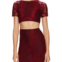 For Love and Lemons Women's Ethereal Embroidered Crop Top - Red -