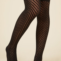 Take It the Chevron Way Thigh Highs in Noir | Mod Retro Vintage Socks | ModCloth.com