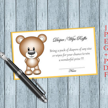 Baby Shower Diaper Raffle Ticket Prirntable Card Baby Shower Games (V3-4) Instant DOWNLOAD