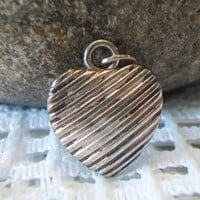 Ribbed Puffy Heart Pendant Puffed Silver Tone Valentine's Day Costume Jewelry