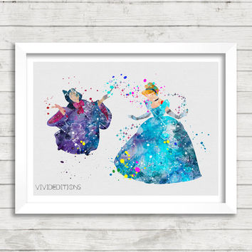 Cinderella and Fairy Godmother Disney Watercolor Art Print, Princess Nursery Wall Art, Home Decor, Not Framed, Buy 2 Get 1 Free! [No. 215]