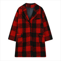 Red Plaid Notched Collar Woolen Coat