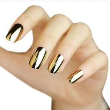 Wisedeal 2* Fashion Super Star Nail Art Polish Gold and Silver Metallic Foil Sticker Patch Wraps Tips 24 Pcs for Women Girls Wife As Valentine's Day Gift:Amazon:Beauty
