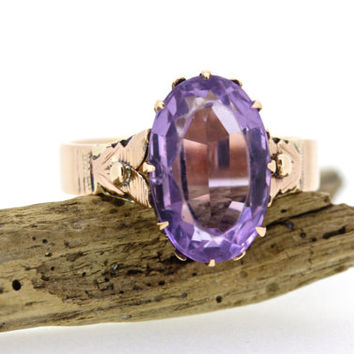 Victorian Amethyst Ring | 10k Rose Gold Ring | Antique Gemstone Ring | Thistle Blossom Ring | February Birthstone Ring | Size 6 1/4