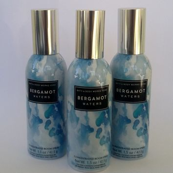 3 Bath & Body Works BERGAMOT WATERS Room Spray 1.5 oz