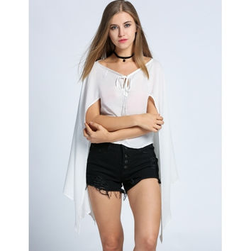 Fashion Women Chiffon Lace Up Neck Cape Sleeve Solid Casual Crop Tops