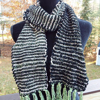 Hand-woven Scarf, Long Thick Striped Scarf, Handwoven fashion scarf, mens scarf, handmade black and silver scarf, chenille warm winter scarf