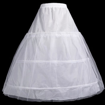 White 3-HOOP 2-Layer Petticoat Wedding Dress Gown Crinoline Petticoat Skirt Slip = 1933187140