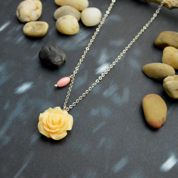A-115 Flower cabochon with pink coral necklace, Modern necklace, White gold rhodium plated chain/Bridesmaid gifts/Everyday jewelry/