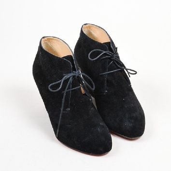 DCCK2 Christian Louboutin BlackChristian Louboutin Suede Leather Lace Up Wedge Ankle Booties
