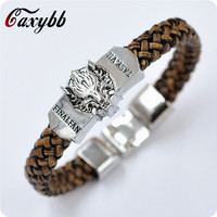 New Men Jewelry Leather Bracelet Game Men's Game of Thrones A Song of Ice and Fire jewelry  Leather Braided Wristband Gif