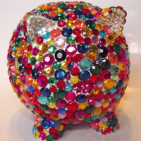 Bling Rhinestone Piggy Bank by EVRhinestones on Etsy