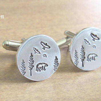 Bear Cufflinks - Forest Cuff Links - Silver Cuff Links - Wilderness Cuff Links - Papa Bear Cufflinks - Stamped Cuff Links