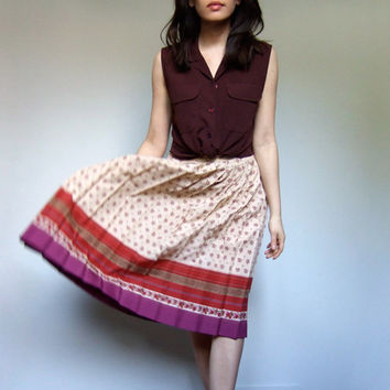 70s Summer Skirt Patterned Accordion Pleat Skirt Spring Fashion - Small S