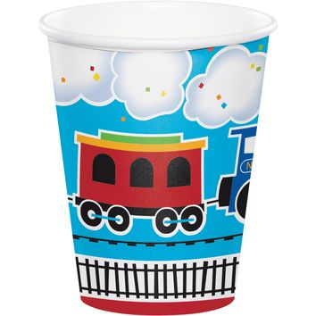 All Aboard Paper Cups, Train Birthday Party, Choo-choo train, Railroad Party, Dinnerware, Train Paper Cups