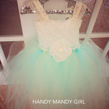 "The ""Natasha"" dress-Mint and Ivory Lace flower girl tutu dress- up to size 5T"
