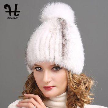 ONETOW fURTALK Women winter fur hat 100% real mink fur hat for women beanies with silver fox fur pompom