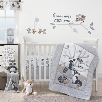 Lambs & Ivy Little Rascals Gray/Taupe/White Woodland Animals and Tree 3-Piece Baby Crib Bedding Set