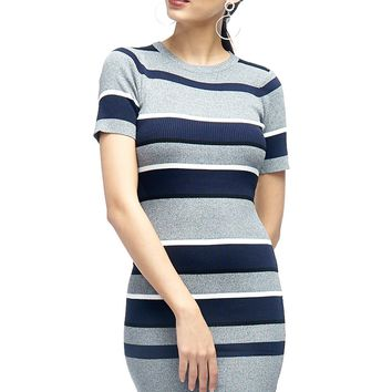 Christmas Home Party Striped Midi Dress