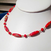 Vintage red glass beaded necklace with painted beads