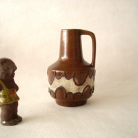 Haldensleben VEB krug, pitcher vase  with lava decor,  Mid Century Modern ceramics