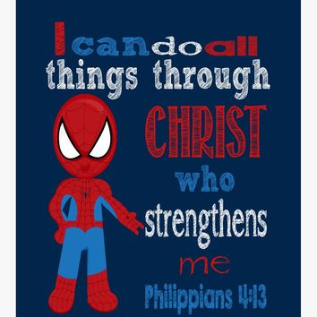 Spiderman Superhero Christian Nursery Decor Art Print - I can do all things trough Christ Philippians 4:13