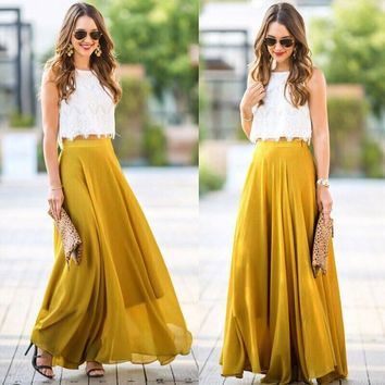 Skirt 2018 Women Chiffon Stretch High Waist Maxi Skirt Skater Flared Pleated Long Skirt Maio Feminino Praia #00