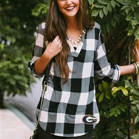 Georgia Bulldogs Squared Away Roll Tab Tunic | UGA Ladies Plaid Tunic | UGA Squared Away Roll Tab Tunic Top