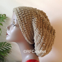 In Stock | XL | Taupe Slouchy Beanie | Brown | Free USA Shipping | Dreadlock Hat | Bad Hair Day | Adults | Men | Women | Long Hair | Locs