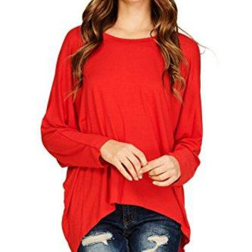 Annabelle Womens Comfy Oversized Long Sleeve Batwing Dolman Pullover Shirt Tops