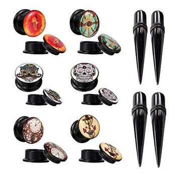 BodyJ4You Gauges Kit Plugs Tapers Ear Stretching Double Flare Skull Anchor 4G Piercing Jewelry Set 16 Pieces