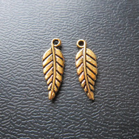 2PCS small leaf Antique gold Dreadlock Jewellery pendants dread Jewelry Accessories