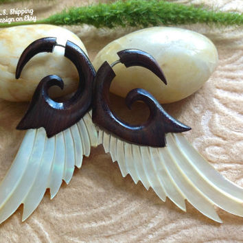"Fake Gauge Earrings, ""Tribal Wings"" Hand Carved, Sono Wood, Mother of Pearl, Naturally Organic"