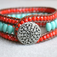 Turquoise and red Boho leather wrap bracelet, leather cuff, Chan Luu Style, red, blue, green