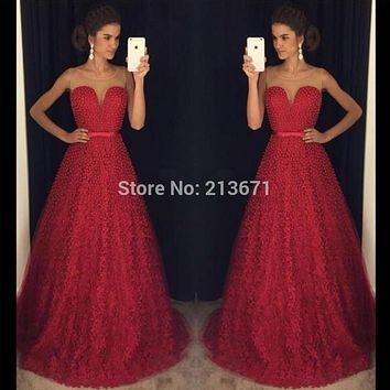 Baijinbai New Arrival Long Red Sweetheart Beads Sashes Prom Dresses 2017 Custom Women New Year A Line Formal Party Dress7120704