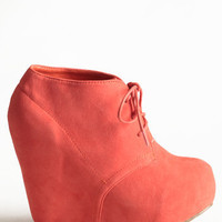 Coral Collaboration Wedge Bootie - $45.00: ThreadSence, Women's Indie & Bohemian Clothing, Dresses, & Accessories