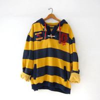 Vintage authentic Coogi sweater. Preppy striped hoodie. Boyfriend pullover. Coogi sweater with pockets.
